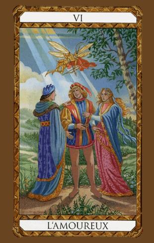 los enamorados arcanos mayores según el diseño del tarot ambre