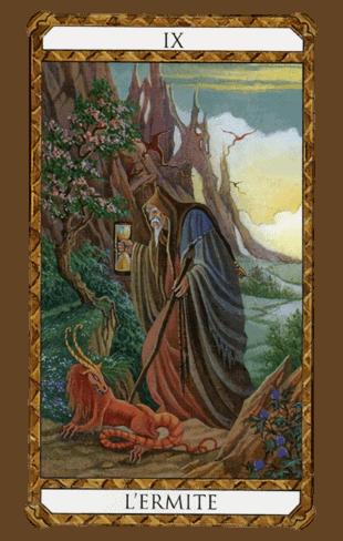 el ermitaño arcanos mayores según el diseño del tarot ambre