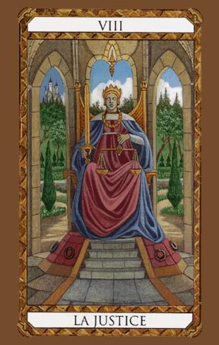 la justicia combinaciones según el diseño del tarot ambre