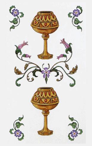 El Dos de Copas Arcano Menor según el diseño del Tarot Ambre