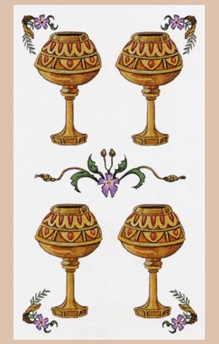 El Cuatro de Copas Arcano Menor según el diseño del Tarot Ambre