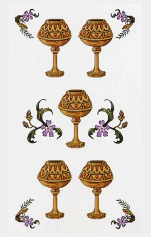 El Cinco de Copas Arcano Menor según el diseño del Tarot Ambre
