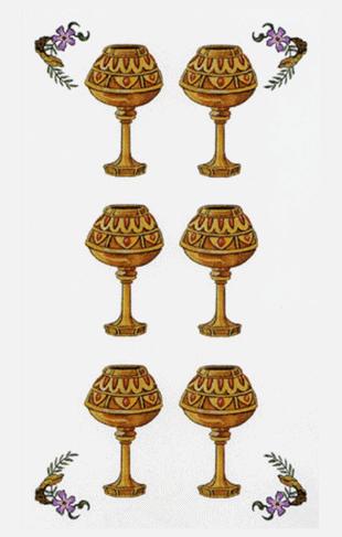 : El Seis de Copas Arcano Menor según el diseño del Tarot Ambre