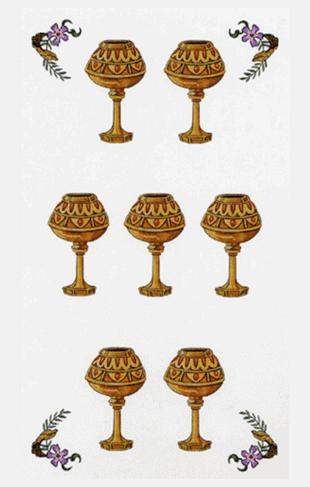 El Siete de Copas Arcano Menor según el diseño del Tarot Ambre