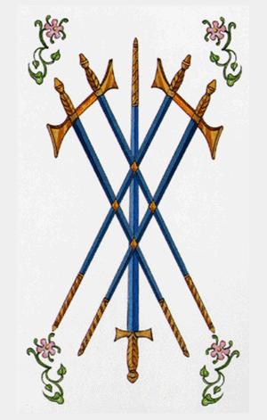 arcanos menores cinco de espadas según el diseño del tarot ambre