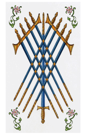 arcanos menores nueve de espadas según el diseño del tarot ambre