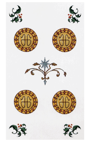 Cuatro de Oros arcanos menores según tarot ambre