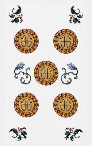El Cinco de Oros Arcano Menor según el diseño del Tarot Ambre