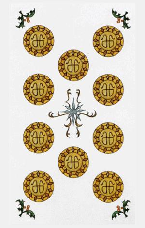 El Diez de Oros Arcano Menor según el diseño del Tarot Ambre