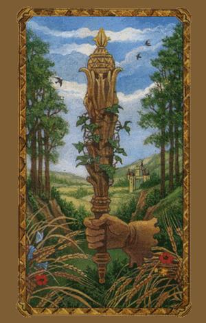 El As de Bastos o Varas Arcano Menor según el diseño del Tarot Ambre