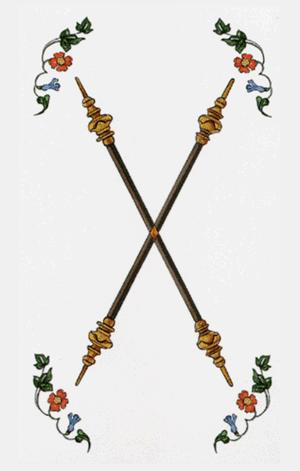 dos de bastos arcanos menores según tarot ambre