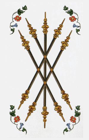 El Cinco de Bastos o Varas Arcano Menor según el diseño del Tarot Ambre