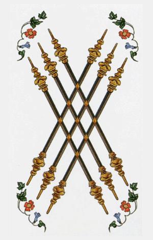 El Seis de Bastos o Varas Arcano Menor según el diseño del Tarot Ambre