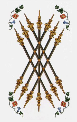 El Siete de Bastos o Varas Arcano Menor según el diseño del Tarot Ambre