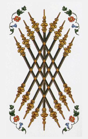 El Nueve de Bastos o Varas Arcano Menor según el diseño del Tarot Ambre