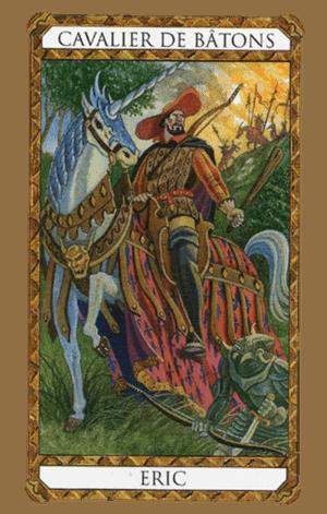 El Caballero de Bastos o Varas Arcano Menor según el diseño del Tarot Ambre